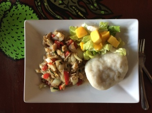 Saltfish and dumpling, breakfast of champions.